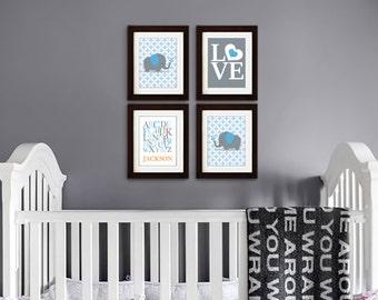 Elephant Nursery Print, Nursery Print, Diamond, Elephant family print, Alphabet, Cute Elephant, love, Custom name, Item 054