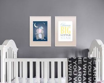 Elephant Print, Twinkle star, Nursery Print quote, Dream Big print,   Item 003