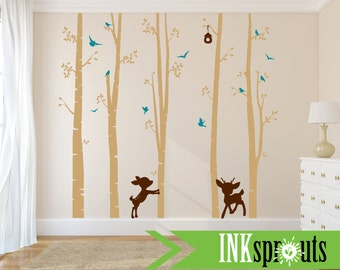 Birch tree decal with deer, Nursery decal, Birch forest decal, Baby Deer decal, Modern Nursery.