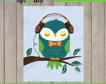 INSTANT DOWNLOAD, Owl print, hipster owl, owl wearing glasses, bowtie, nursery owl, printable nusery art, Item 043D