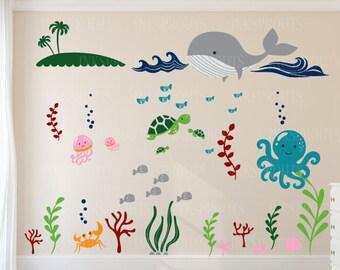 Under the sea Decal, Large ocean animal scene, Anchor Nautical decal set, Nautical decal,  Modern Nursery, Nursery decals