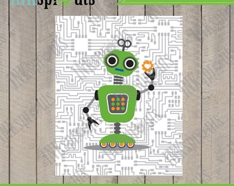 INSTANT DOWNLOAD, Robot Prints, Andriod, Circuit print, Robots, boys room, Nursery Prints, Robot art, Item 028D
