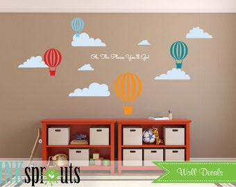 Hot Air Balloon Decal, Oh the places you'll go, air balloons decal, Clouds, Classic, Simple, Modern Nursery, Nursery decals, Baby Decals,