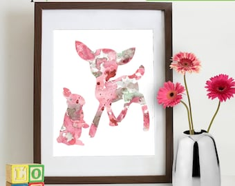 Watercolor Deer and bunny Print, Watercolor silhouettes, Bambi, baby deer, woodland animals, rabit, Nursery Print, Forest animals, ItemWC023
