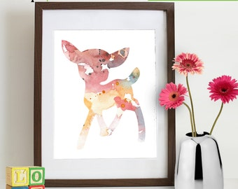 Watercolor Fawn Deer Print, Watercolor silhouettes, Bambi, baby deer, woodland animals, Birch, Nursery Print, Forest animals, Item  WC017B