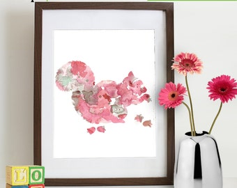 Watercolor Squirrel Print, Watercolor silhouettes, woodland animals, rabit, Nursery Print, Forest animals, ItemWC025