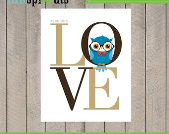 INSTANT DOWNLOAD, Owl love print, Love print, Cute owl, owl in glasses, Hipster owl, Nursery owl,  Nursery print, Item 83D