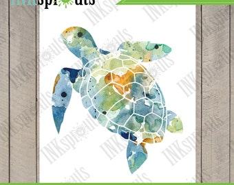 INSTANT DOWNLOAD - Watercolor Sea Turtle Print, Watercolor silhouettes, Sea Life, Beach theme, Nursery Print, Under the Sea, Item  WC008A