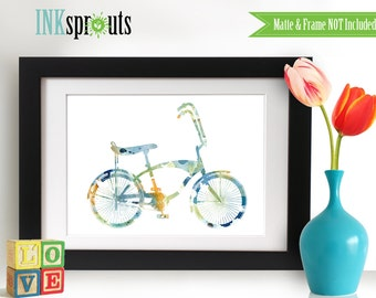 Watercolor Bicycle Print, Watercolor silhouettes, bike, vintage bicycle The places you'll go, Nursery Print, Transportation, Item  WC013