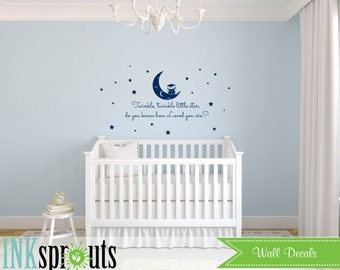 Twinkle little star Decal, Stars, Cute Owl decal, Babys Name,Classic, Simple, Modern Nursery, Nursery decals, Baby Decals,
