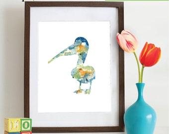 Watercolor Pelican Print, Watercolor silhouettes, Birds, Sea birds, Beach theme, Nursery Print, Nautical, Under the Sea, Item  WC036