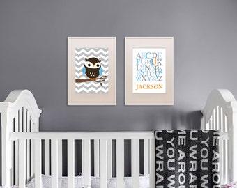 Owl Print Set, Alphabet Print with Name, Custom Name, Birthdate, Owl Nursery, Owl family, Nursery Print, Item 038