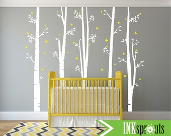 Set of 5 Birch Tree Decal with Butterflies, Large Birch set, birch tree set, Birch forest, Tree with butterfies, Nursery decals, Baby Decals