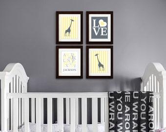 Giraffe Nursery Print, Safari Animal, Cute Giraffe, polkadots, Alphabet, Custom name, Item 057