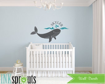 Whale with Name Decal, whale Decal, Nautical decal , Orca, Sea, Under the sea, Modern Nursery, Nursery decals, Baby Decals