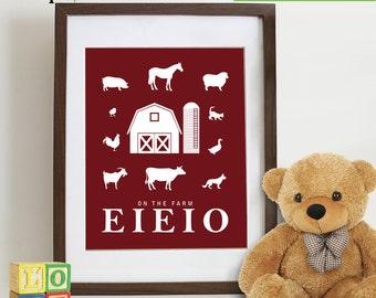 Farm Animal Print, Old Mcdonald song, EIEIO, Farm animals, Childrens songs, Horse, Cow, Sheep, pig, duck, Nursery prints, Item  090