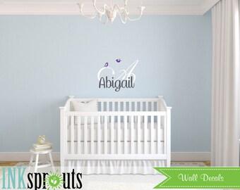 Custom Name Decal, Monogram, Cute bird decal, Girls room, Babys Name,Classic, Simple, Modern Nursery, Nursery decals, Baby Decals,