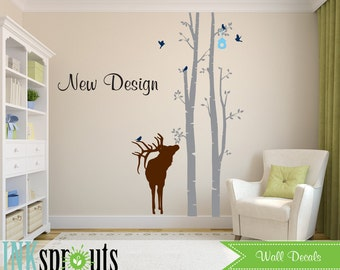 Birch Decal with Elk, 2 Birch decal,Small  birch tree set, Birch with Deer, Birch forest, Nusery Birch trees, Modern Nursery, Nursery decals