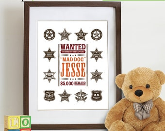 Wanted Poster with Custom Name, Cowboy, Cowboy theme, Sheriff badges, Boys Room, Custom Name, Nursery Print, Boys room, Item 087