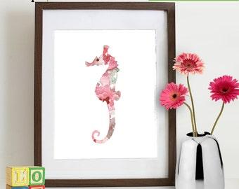 INSTANT DOWNLOAD - Watercolor Seahorse Print, Watercolor silhouettes, Beach theme, Nursery Print, Ocean print, Under the Sea, Item  WC002