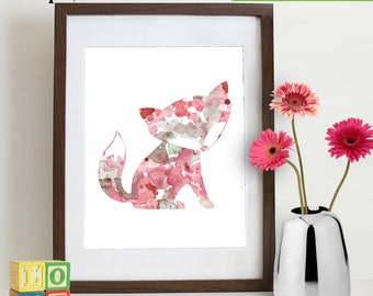 Watercolor Fox Print, Watercolor silhouettes, woodland animals, Cute fox , Pink fox,  baby fox Nursery Print, Forest animals, ItemWC026