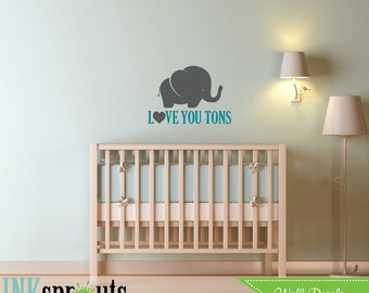 Cute Elephant Decal, Love you tons, Baby Elephant, Safari Decal, Jungle, safari nursery, Modern Nursery, Nursery decals, Baby Decals,