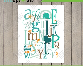 INSTANT DOWNLOAD, Alphabet print, Whale Print, fish print, ocean print, i heart you, beach theme, nursery print, Item 020D