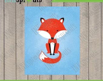 INSTANT DOWNLOAD, Cute fox, woodland fox, Fox print, forest friends, forest animals, modern nursery print, nursery print, Item 074D