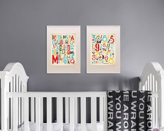 Alphabet and Numers Print set , Retro print, Typography poster, Hipster, Counting, Nursery print, Boys room, Reading print, Cakes, Item 112