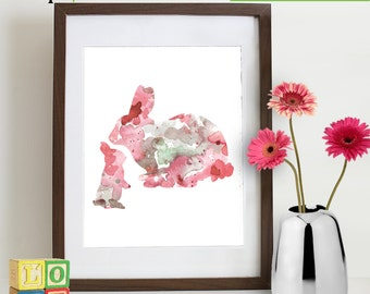 Watercolor Bunny Print, Watercolor silhouettes, Bambi, Thumper,  woodland animals, rabit, Nursery Print, Forest animals, ItemWC024