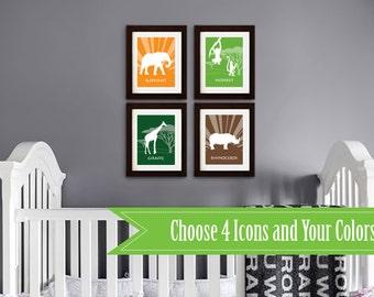 Safari Animal Print Set, Safari Nursery, monkeys, Elephant, rhino, hippo, Safari, Giraffe, Animal Silhouette, Lion,  Item 085