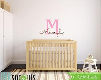 Custom Name Decal, Monogram decal, Girls room, Babys Name,Classic, Simple, Modern Nursery, Nursery decals, Baby Decals,