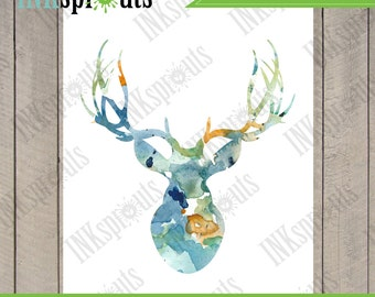 INSTANT DOWNLOAD -Watercolor Buck, Deer Print, Watercolor silhouettes, woodland animals, Birch, Nursery Print, Forest animals, Item  WC016A
