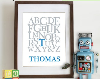 Alphabet  with Childs Name Print, ABC print, Personalized Print, Custom Name, Nursery Print, Letters, Typography,  Love,  Item 095
