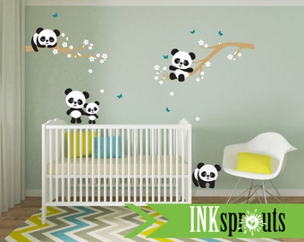 Panda Decal Room, Panda on Blossom branch, Sleeping panda, Panda on Branches, Modern Nursery, Nursery decals, Baby Decals, Woodland theme