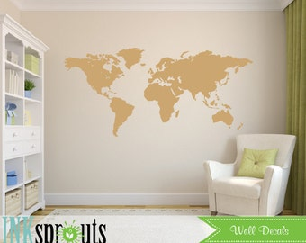 Large World Map Decal, Travel, Educational Decal, Oh the places you'll go, Geography decal, Transportation, Nursery decals, Modern decal