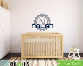 Monogram Name Decal, Gear frame monogram, Monogram decal, Boys room, Space monogram, Robots, Modern Nursery, Nursery decals