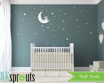 Owl on Moon Decal, Stars, Cute Owl decal, Twinkle little star, Babys Name,Classic, Simple, Modern Nursery, Nursery decals, Baby Decals,
