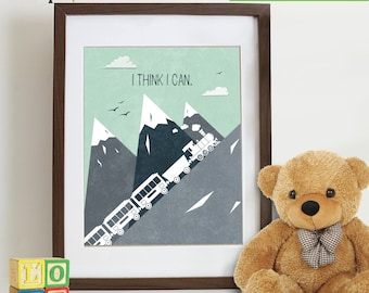 INSTANT DOWNLOAD - I think I can print, Train print, Mountains Print, Train, Dumbo, quote, transportation, landscape, Nursery Print