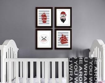 Pirate Print set, Pirate Ship, Pirate Song, Boys Room Nursery Print, nautical nursery, Nautical print, Sea Print, Item  077