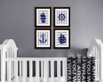 Nautical Print set, Ship print, Pirate Print, Boys Room Nursery Print, nautical nursery, Nautical print, Under the Sea Print, Item  076