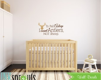 To fall Asleep I count Antlers, To go to sleep, Antler quote, Deer Decal, Birch Trees, Modern Nursery, Nursery decals, Woodland theme