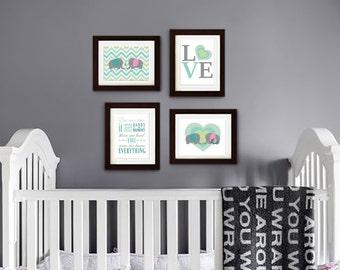 Elephant Print, Nursery Print, Chevron print, Elephant family print, Safari print, Family Quote, love print, Item 001