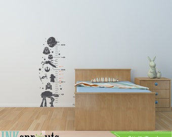 Star Wars Inspired Grow Chart Decal, Child Growth Chart, The force is strong, Starwars, Rocket, Outerspace,  Nursery decals