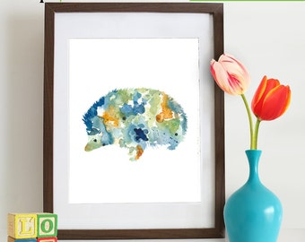 INSTANT DOWNLOAD - Watercolor Hedgehog Print, Watercolor silhouettes, woodland animals, rabit, Nursery Print, Forest animals, ItemWC031