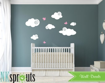Cute Clouds with birds, Cloud decal, Sunshine, you are my sinshine, Nursery decals, Baby Decals, Rain, Gray Skys
