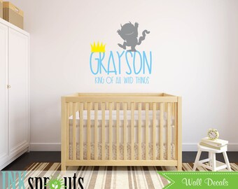 Where the wild things are Inspired Decal, Custom name decal, Wild things quote, Modern Nursery, Nursery decals, Baby Decals,