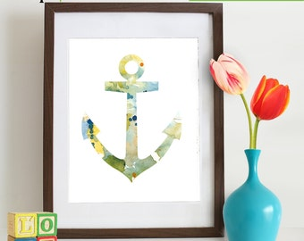 Watercolor Anchor Print, Watercolor silhouettes, Boat, Ship, Beach theme, Nursery Print, Nautical, Under the Sea, Item  WC010B