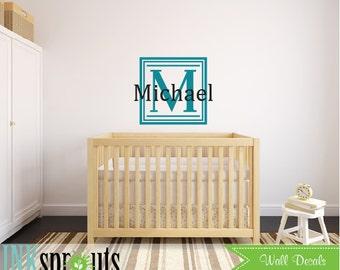 Monogram Name Decal, Square frame monogram, Monogram decal, Childs room, Babys Name monogram, Classic, Modern Nursery, Nursery decals