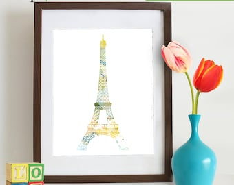 Watercolor Eiffel Tower Print, Watercolor silhouettes, Paris, Shabby Chic, City, Nursery Print, Item  WC019B